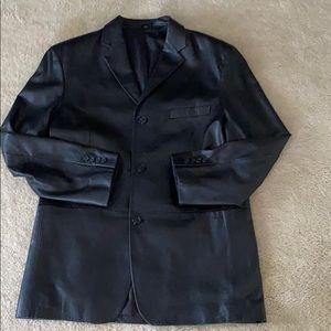 Leather men's blazer